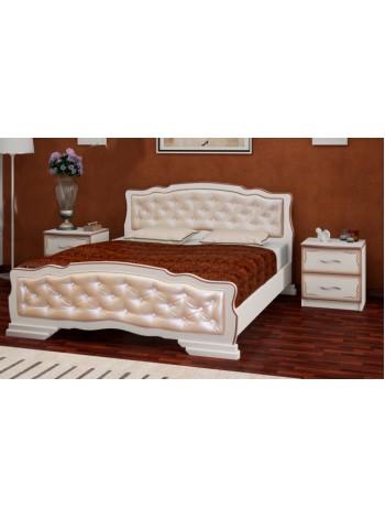 Кровать Карина 10 дуб молочный, светлая экокожа