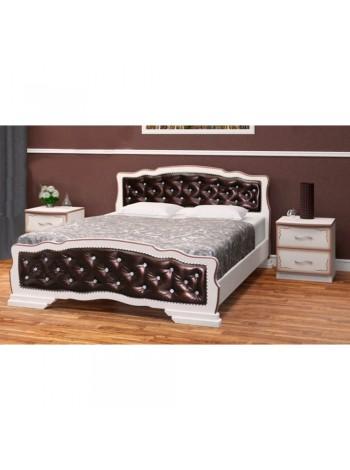 Кровать Карина-10 дуб молочный, темная кожа