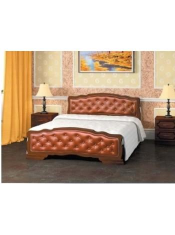 Кровать Карина 10 орех с элементами экокожи