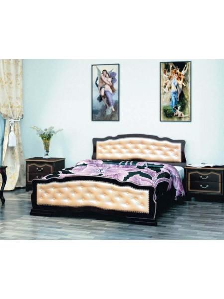 Кровать Карина 10 орех темный с элементами светлой экокожи