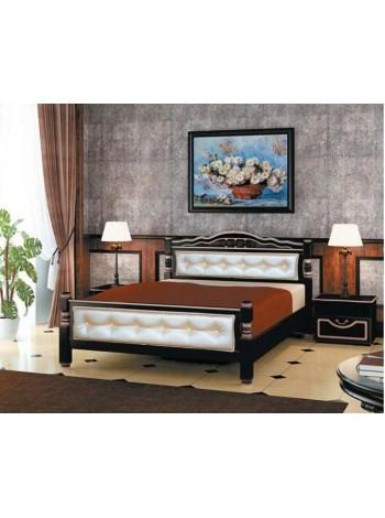 Кровать Карина-11 орех темный с элементами экокожи