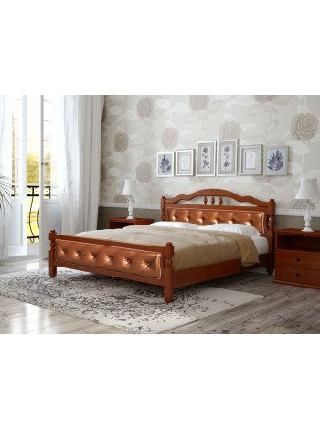 Кровать Карина-11 орех с элементами экокожи