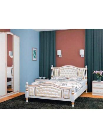 Кровать Жасмин дуб молочный, светлая экокожа