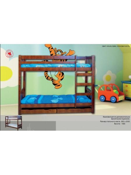 Кровать двухъярусная с ящиками Аврора